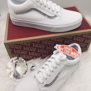 White Old Skool Vans w/ Gems